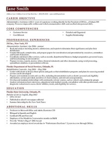 Resume Template Brick Red Contemporary