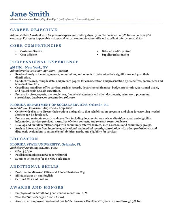 Resume Examples Free Example Resumes And Resume Template