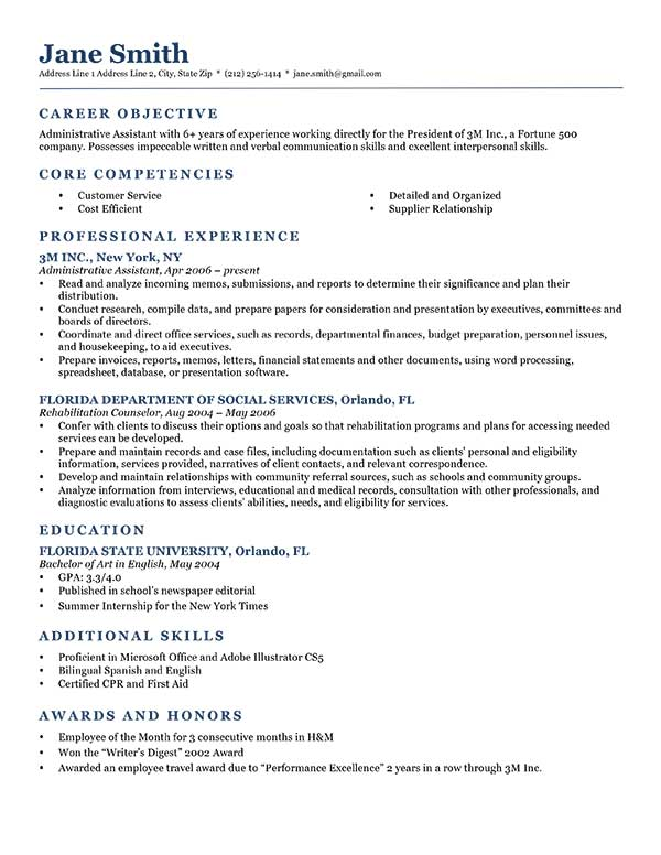 samples of objectives on a resume