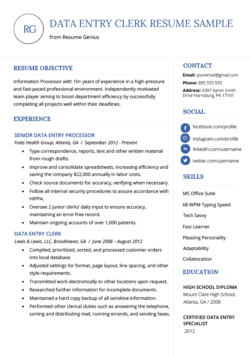 Data Entry Resume Sample  amp  Writing