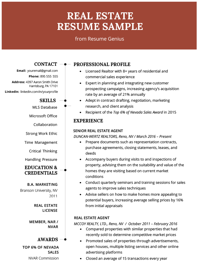 real estate agent resume real estate resume amp writing guide resume genius 14564 | Real Estate Resume Example Template