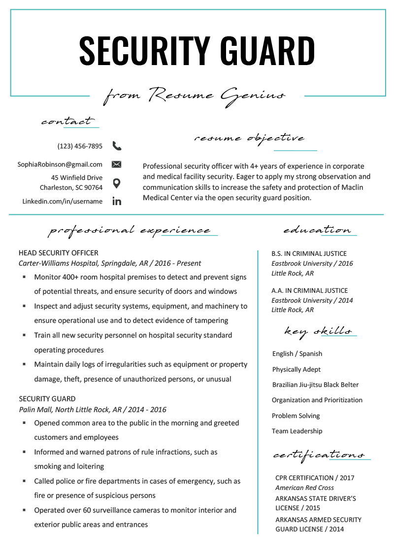 Security Guard Resume Example Template