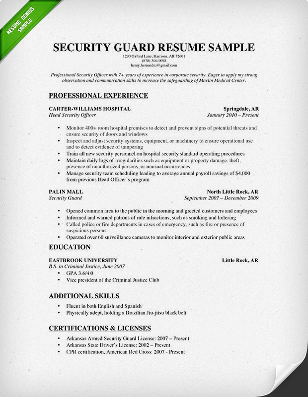 Resume Sample Resume Security Job security guard resume sample genius 2015
