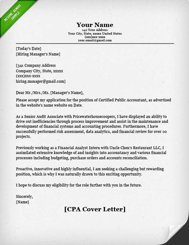 cpa cover letter - Free Sample Cover Letters For Resume