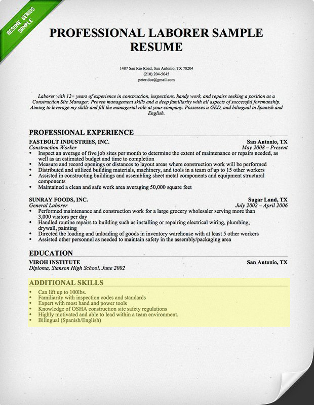 laborer resume skills section - Additional Skills Resume