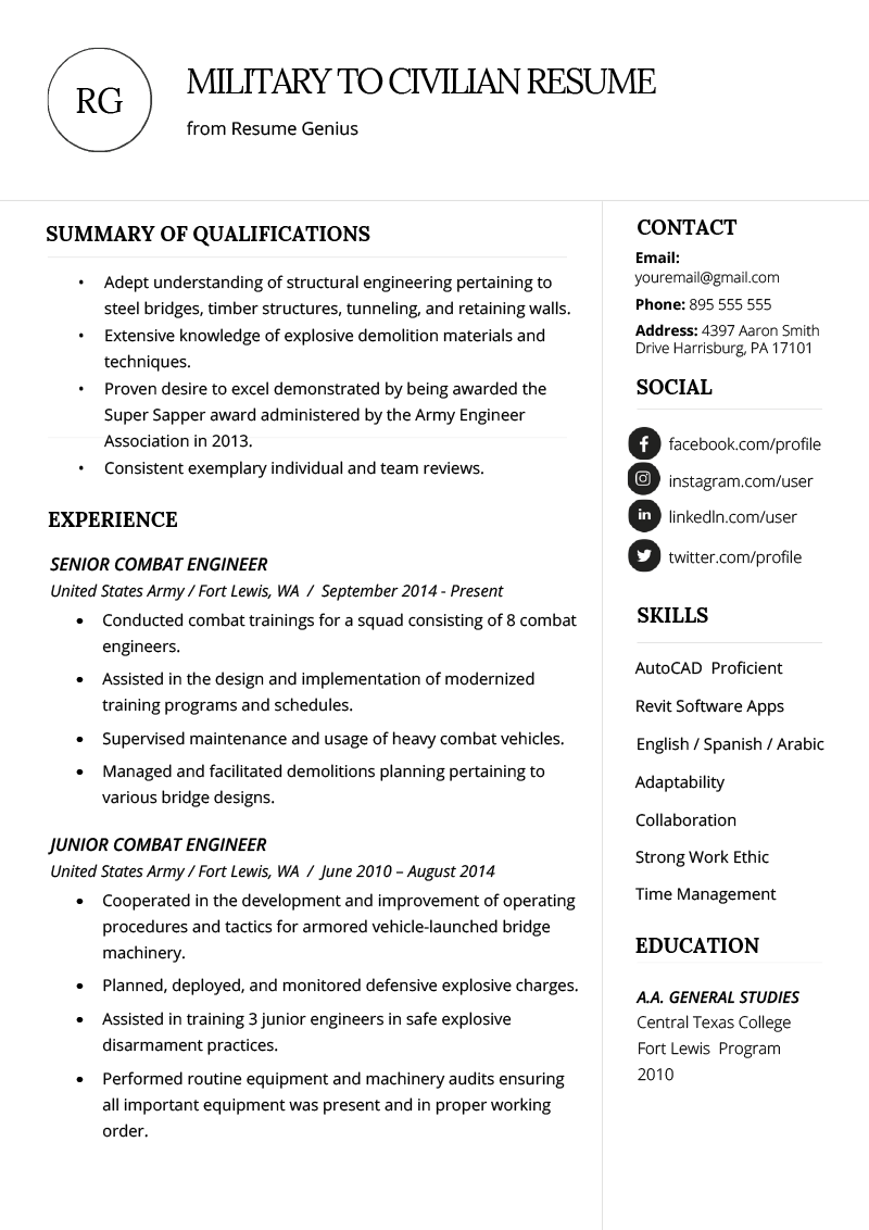 how to write a military to civilian resume