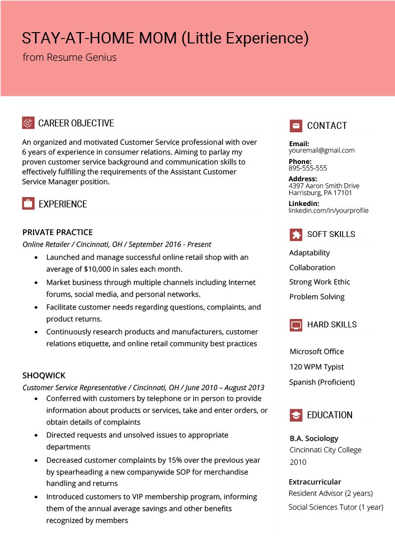 Stay At Home Mom Little Experience Resume Example Template