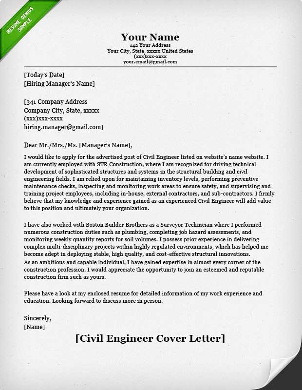civil engineer cover letter example