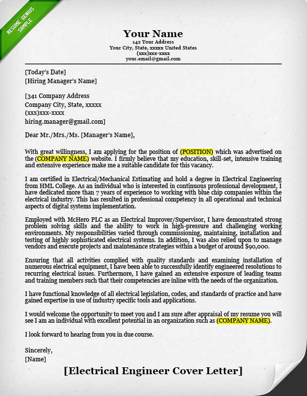 Sample Cover Letter. Electrician Cover Letter Sample Professional ...