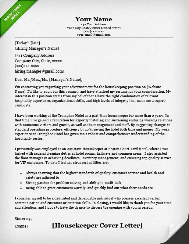 housekeeping and cleaning cover letter samples resume genius - Example Of An Excellent Cover Letter