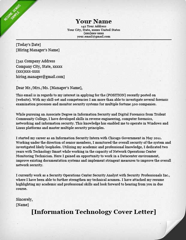 Information Technology IT Cover Letter Example  Work Resume