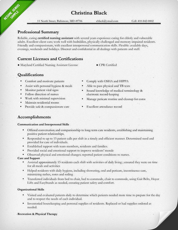 Attractive Certified Nursing Assistant Resume Sample
