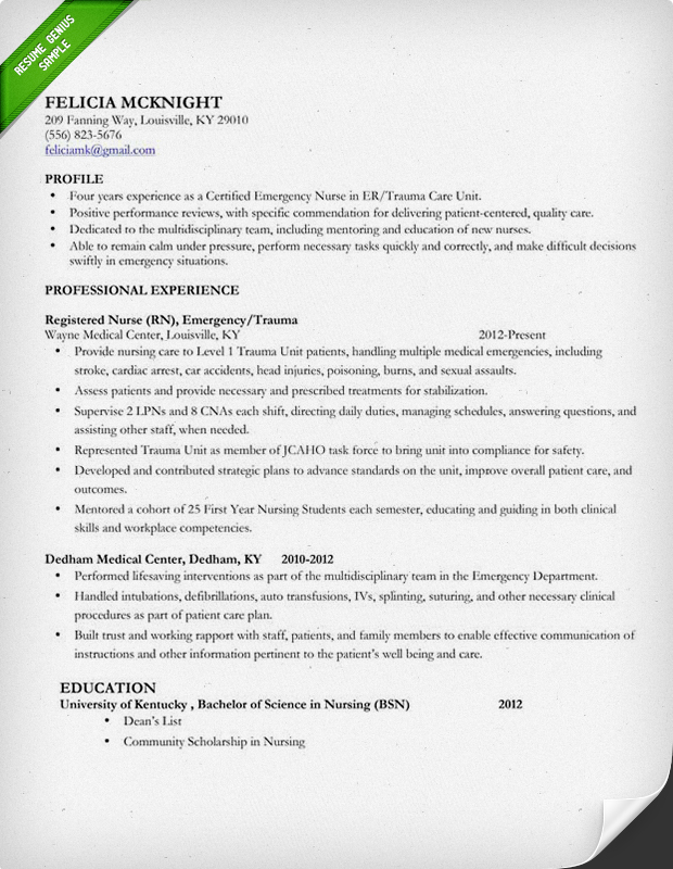 Er Nurse Resume Sample Resume Cv Cover Letter. Sample Resume For