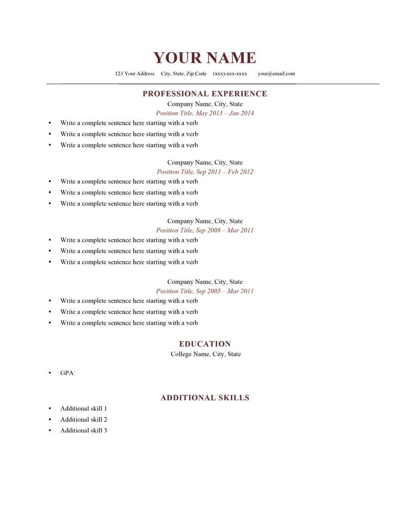 sample of resume format Parlobuenacocinaco