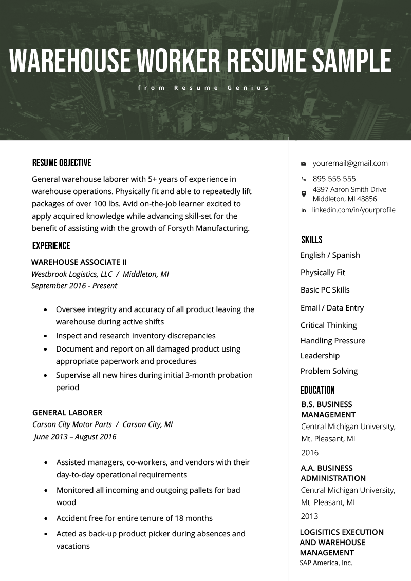 warehouse worker resume example  u0026 writing tips