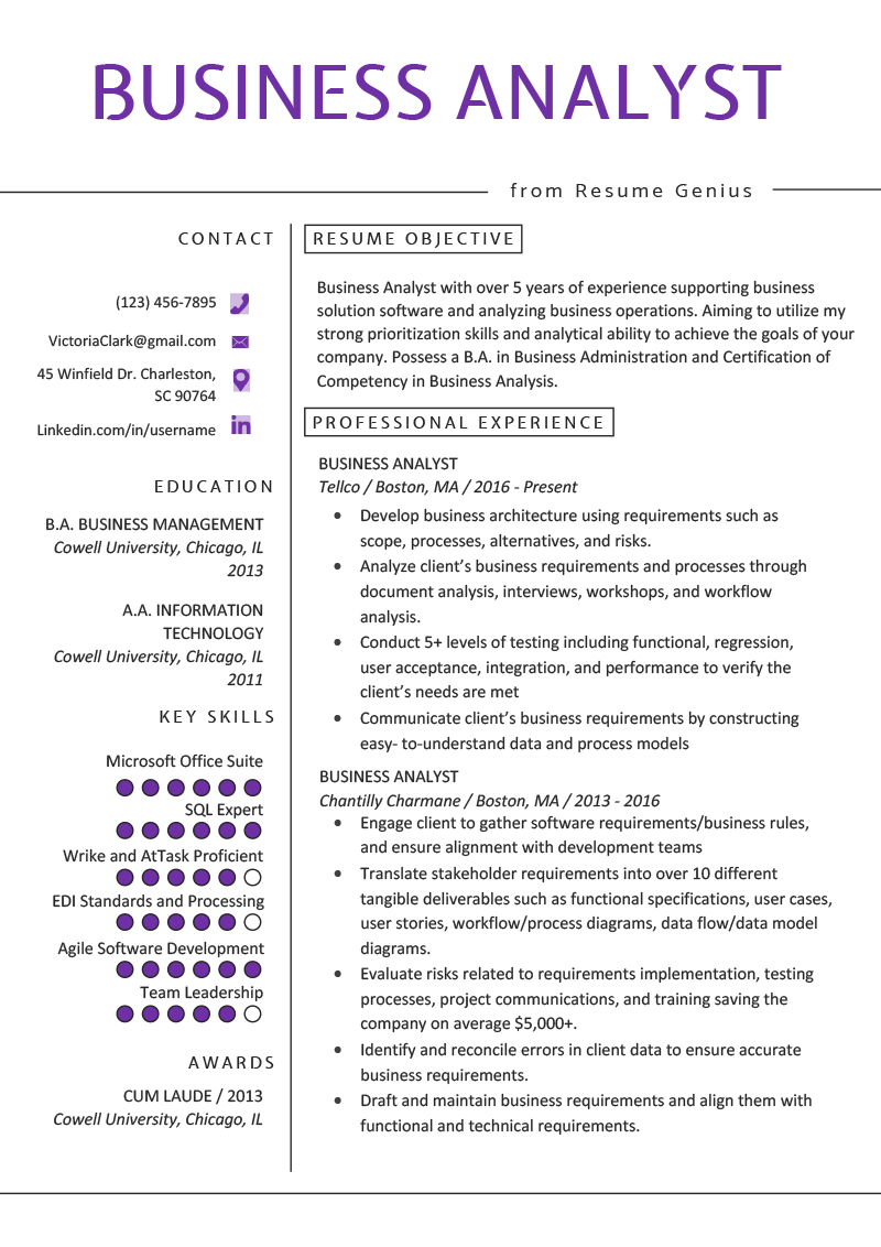 resume of business analyst