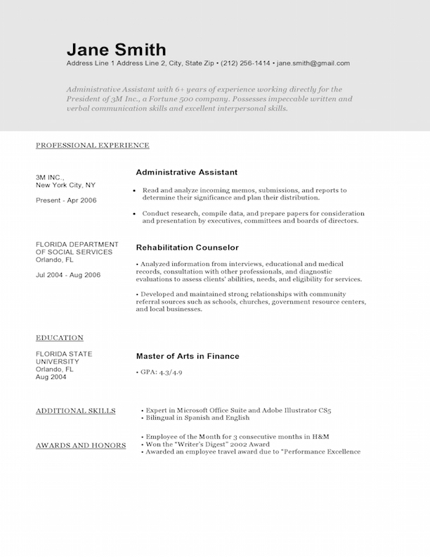 sample designers resume