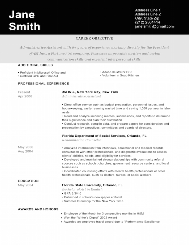 Pantheon Black  Resume Design Service