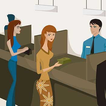 Bank Teller & Customers Cartoon