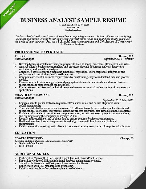 Business Analyst Resume Sample & Writing Guide | Rg