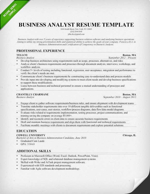 sample resume cover letter for teenager internship business analyst example