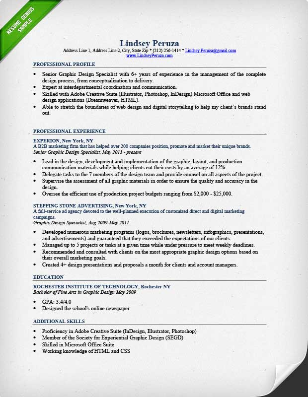 Resume Example Graphic Design  Professional Resume Example