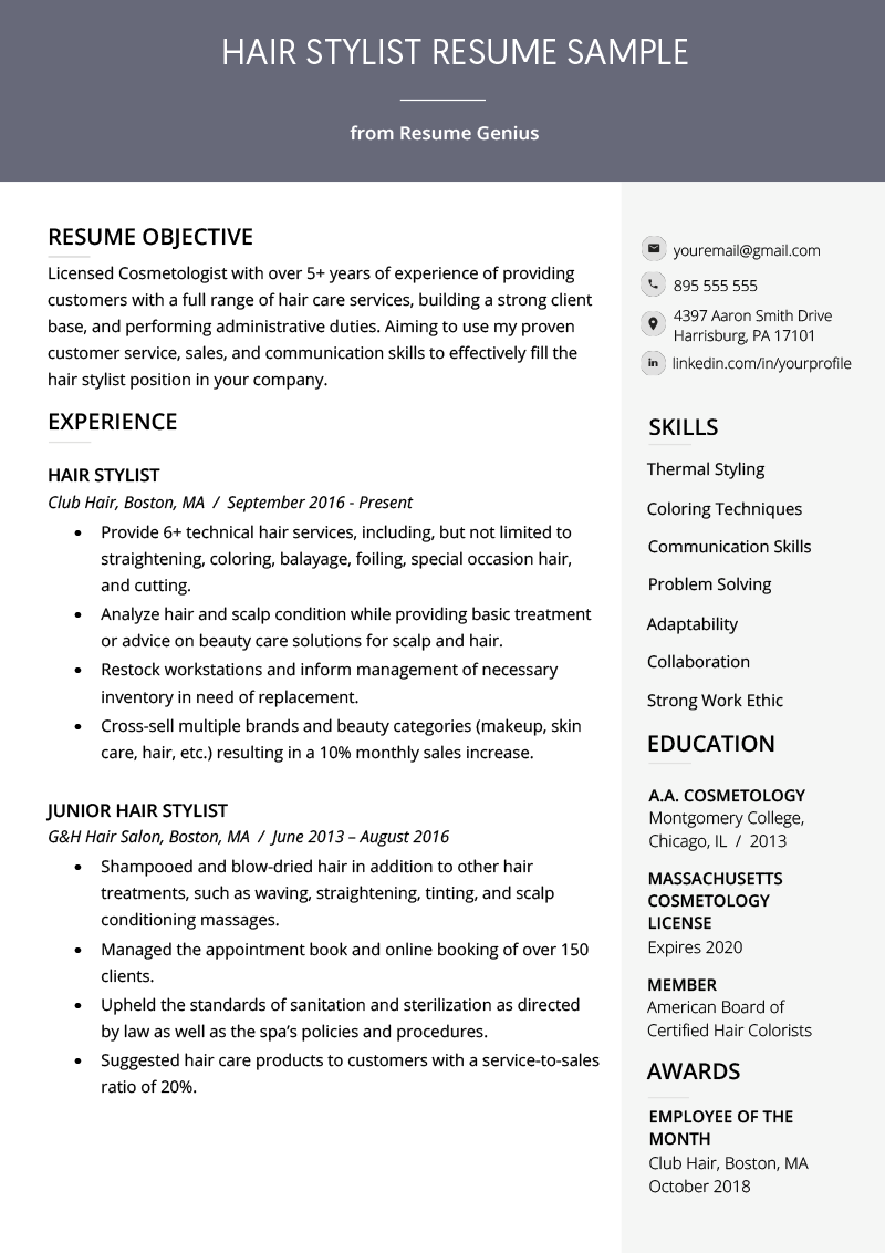 hair stylist resume example template