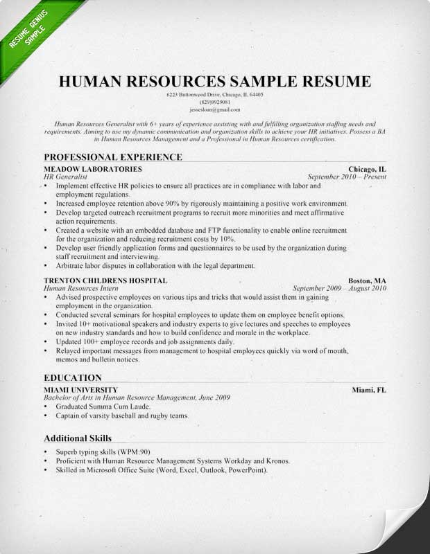 Human Resources HR Resume Chronological  Resume Examples Of Skills