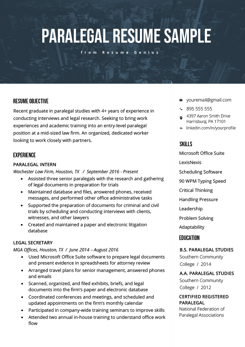 paralegal resume sample  u0026 writing guide