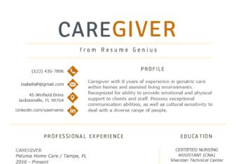 Caregiver Resume Example Template