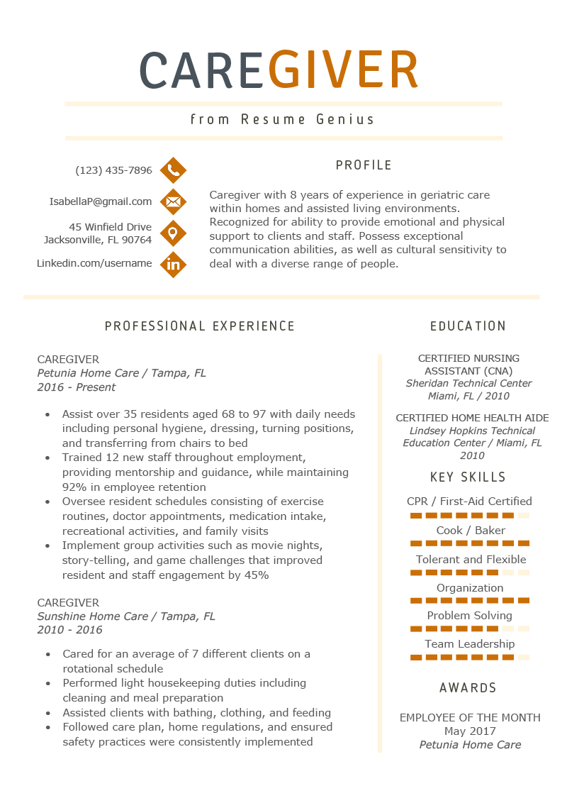Caregiver Resume Example Writing Guide