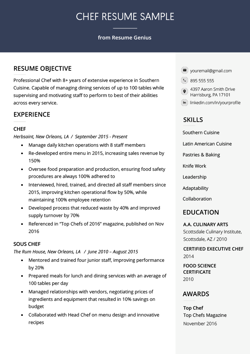 Chef Resume Sample Writing Guide