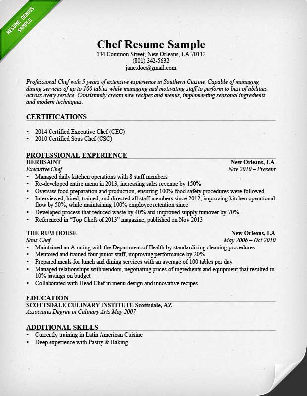chef resume sample writing guide resume genius - Common Resume Format