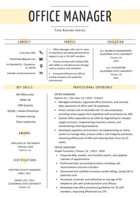 Resume Office Manager View Example