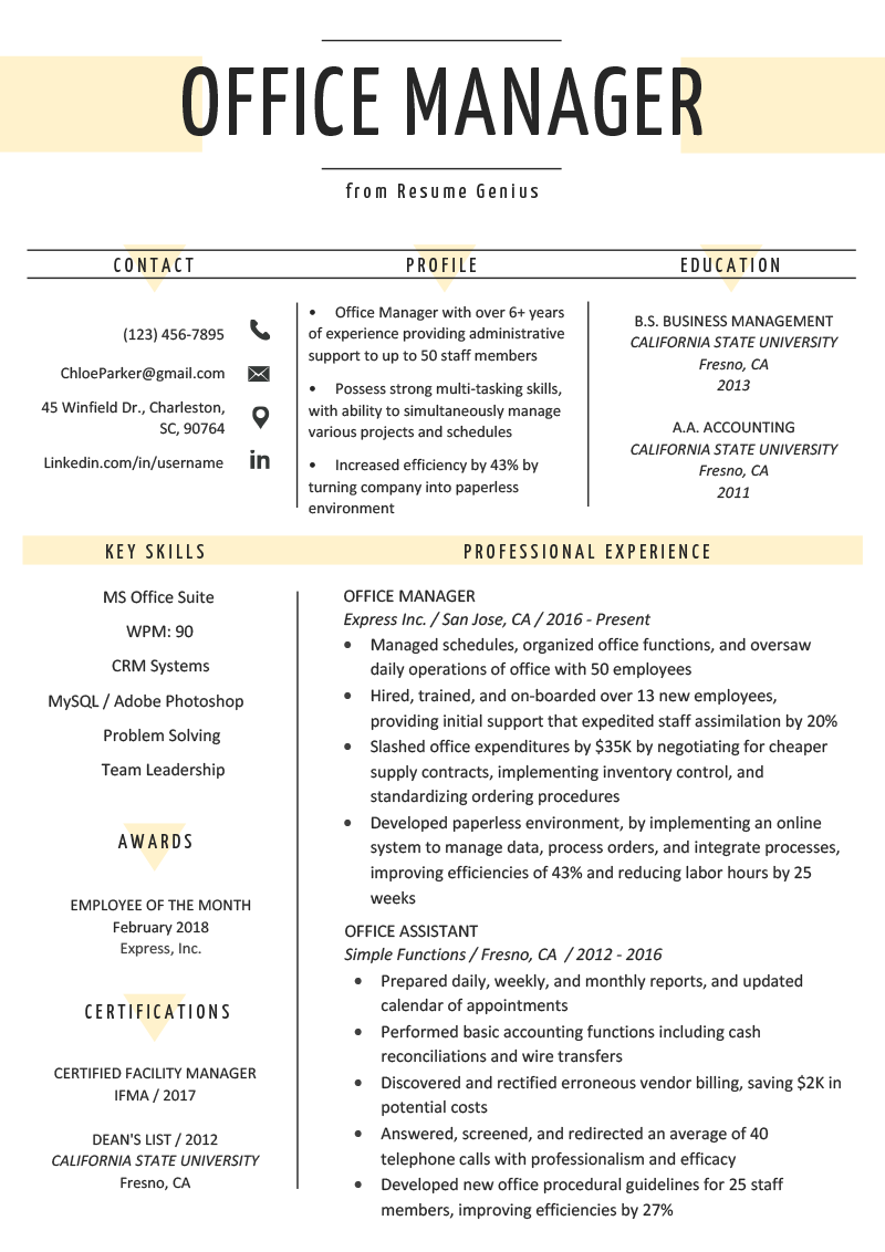 Office Manager Resume Sample Amp Tips Resume Genius