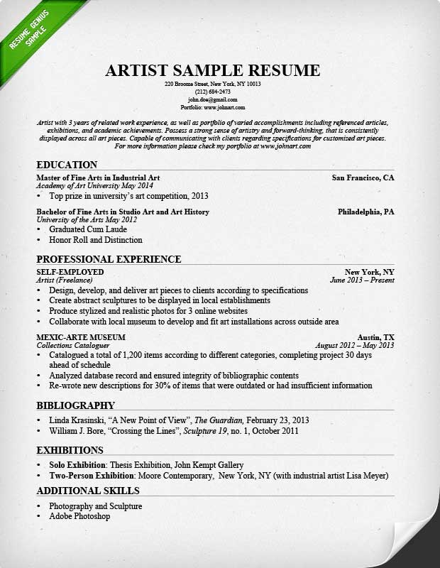 Artist Resume Sample  Work Experience Resume Sample