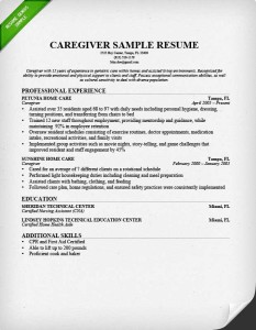 resume sample for a caregiver