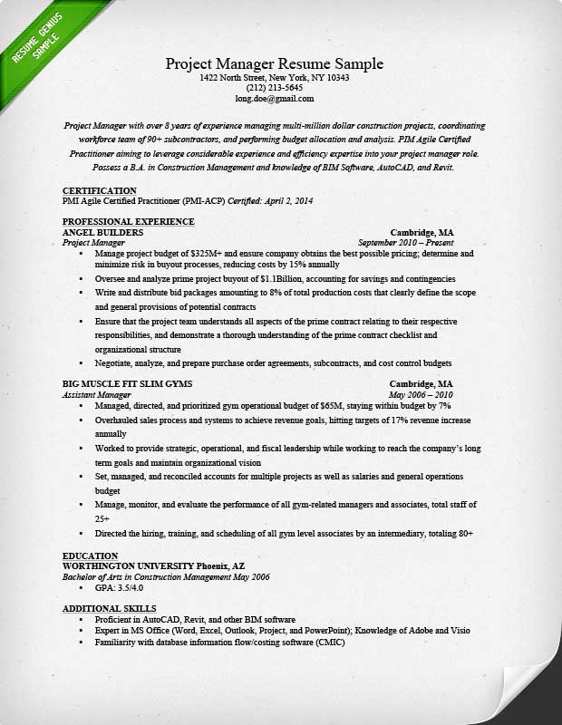 project manager resume sample writing guide project manager resume template
