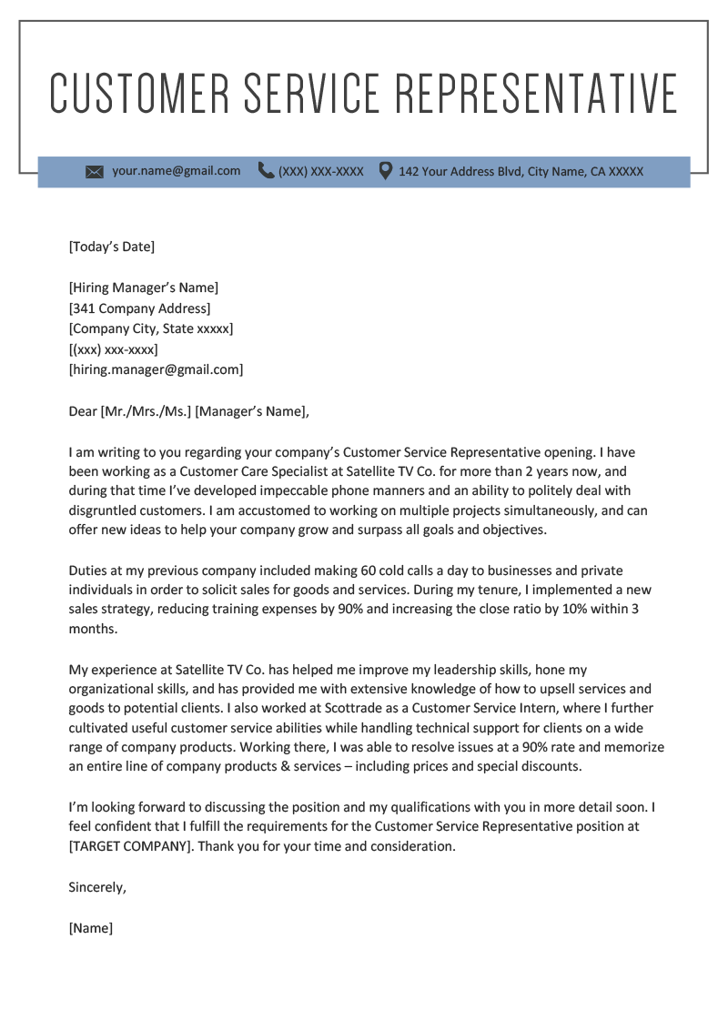 customer service representative cover letter example template