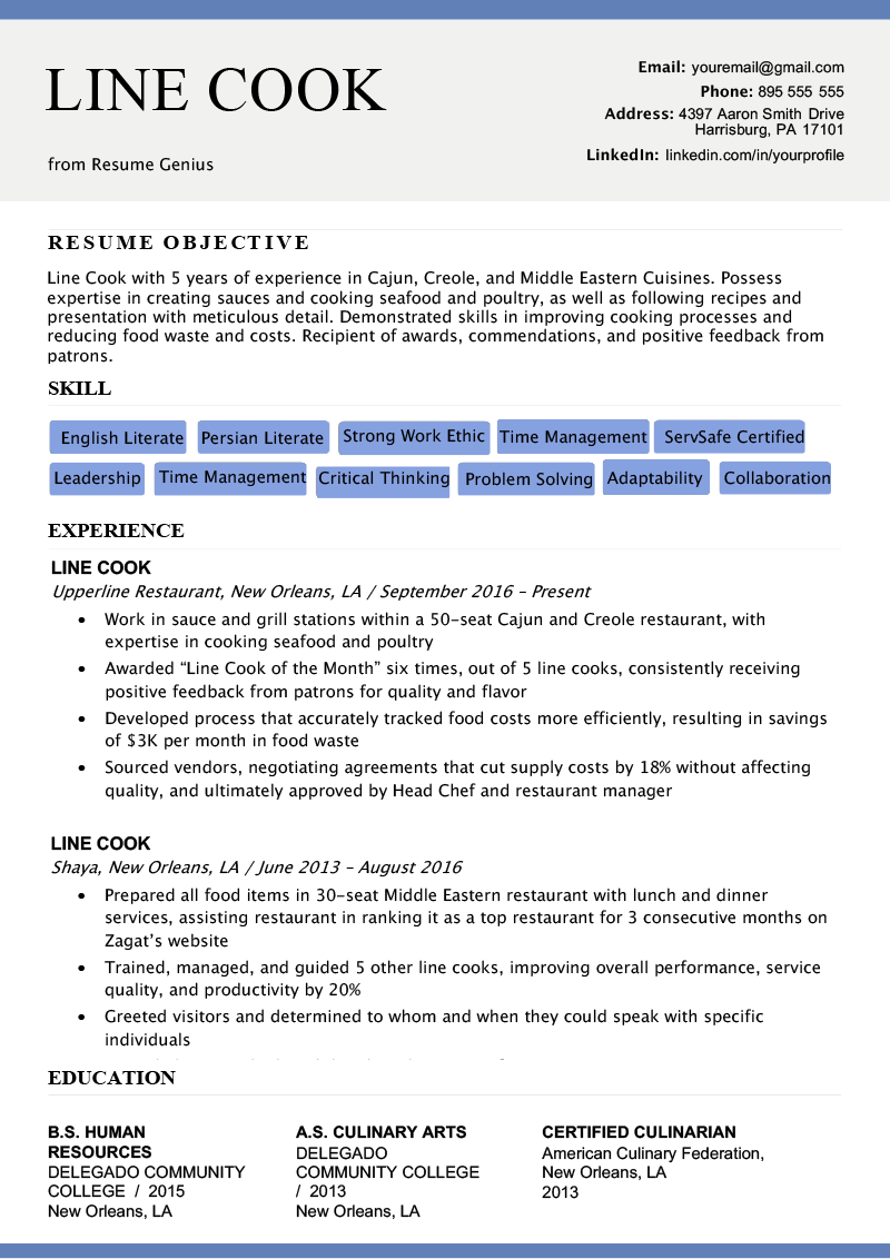 Line Cook Resume Sample  amp  Writing