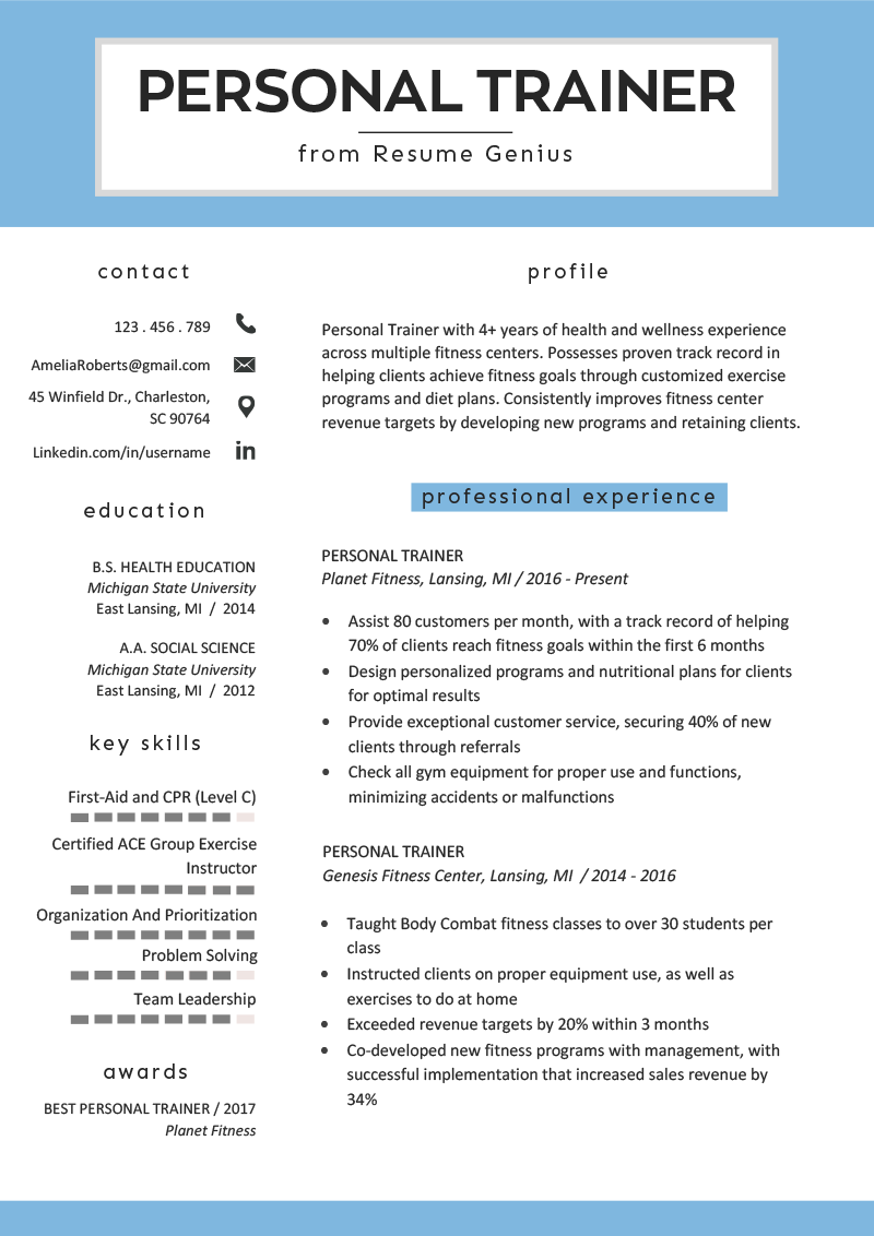 personal trainer resume example template