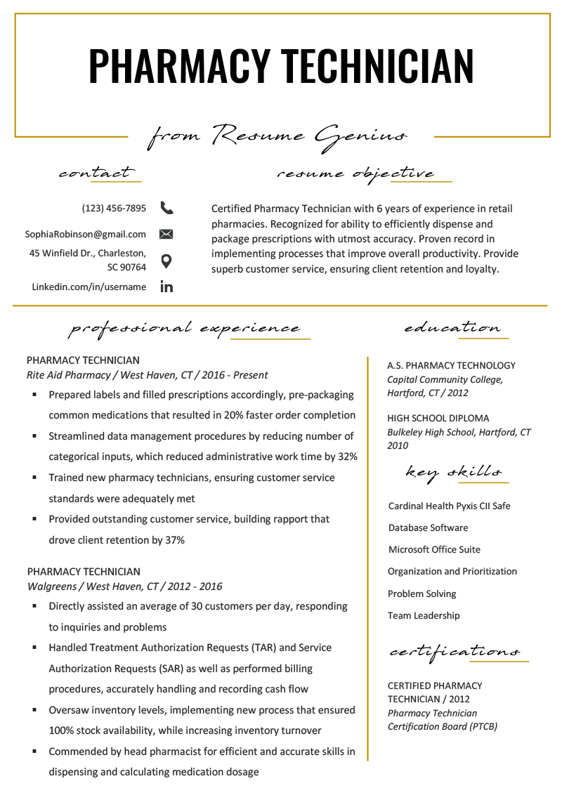 Pharmacy Technician Resume Example Template