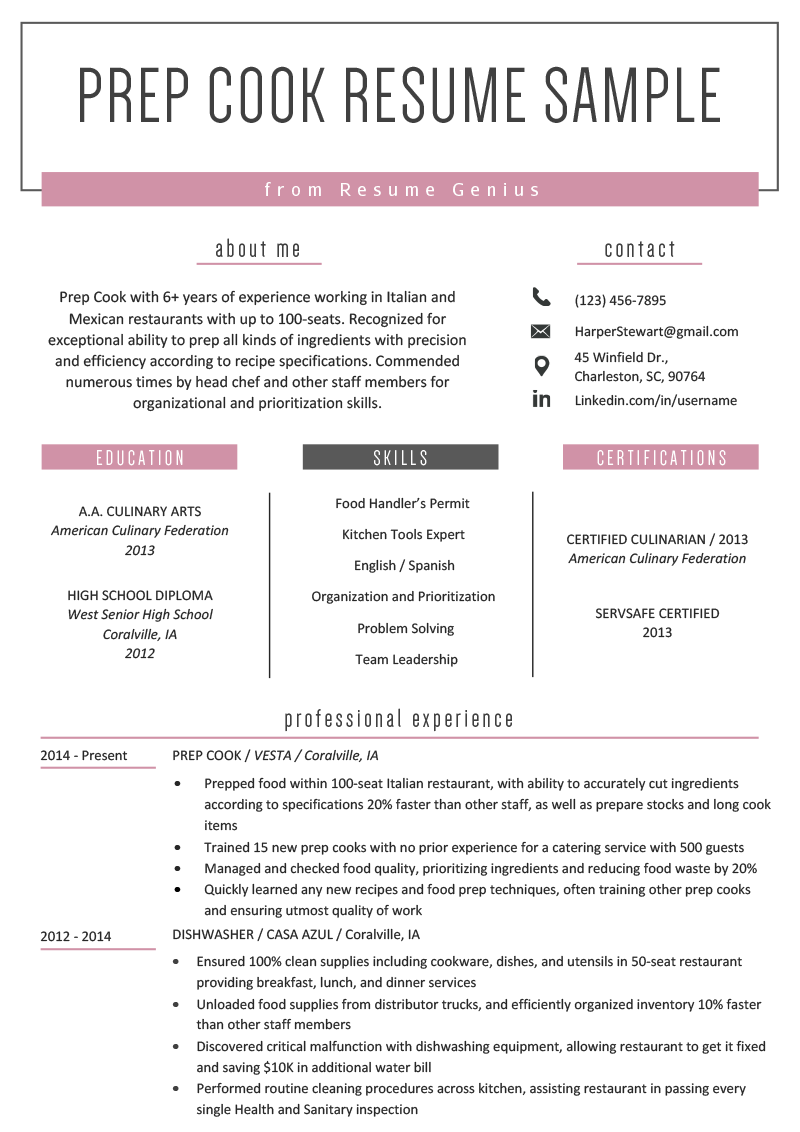 prep cook resume example  u0026 writing tips
