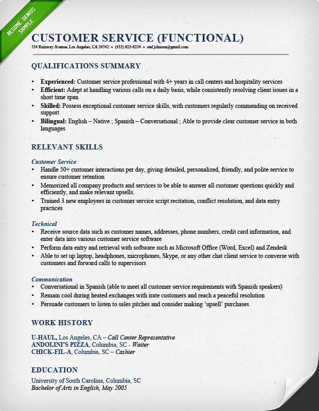 Customer Service Call Center Fuctional Resume Sample  Skills And Qualifications Resume
