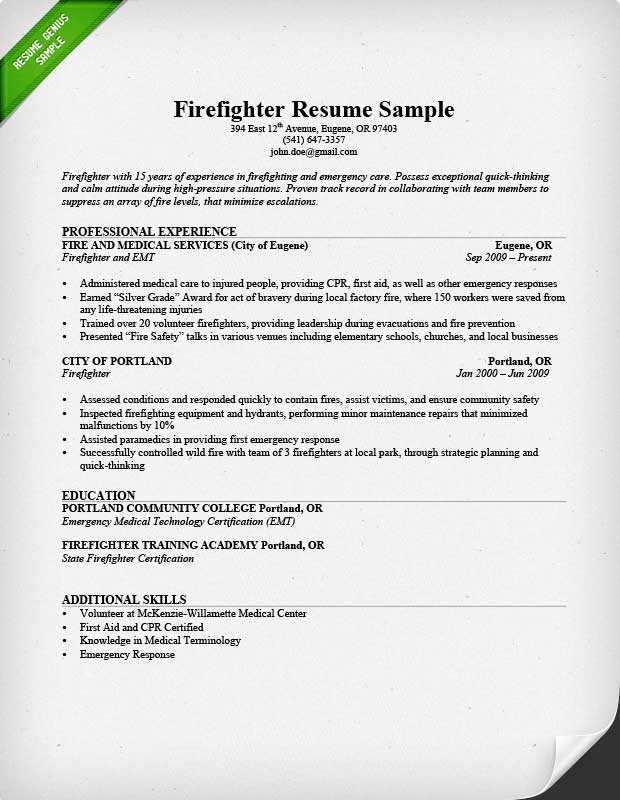 Firefighter Resume Sample On Firefighter Resume Templates