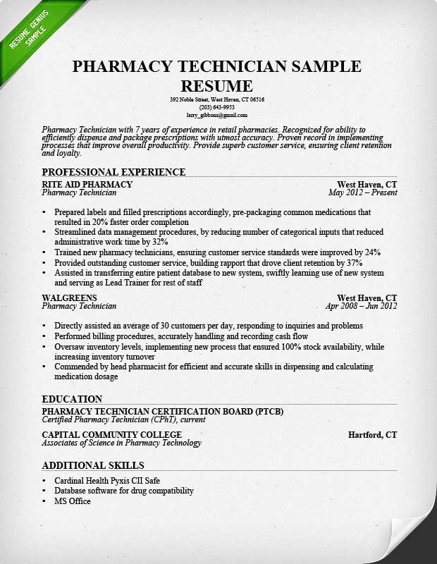 Pharmacy Technician Resume Sample  Sample Business Resumes