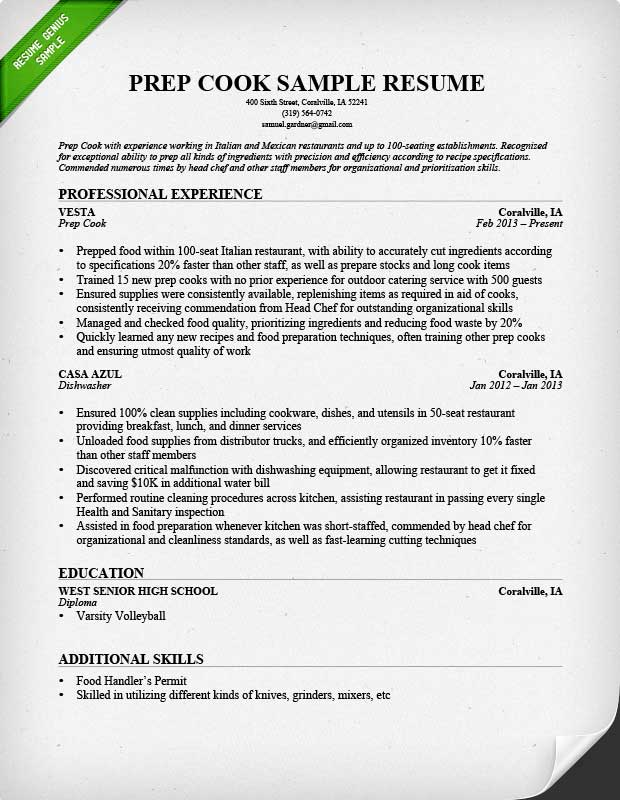 Resume Sample For A Prep Cook