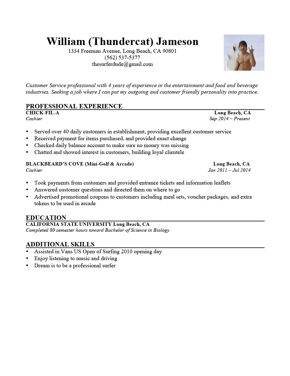 Resume Includes Your Nickname 1 Resume William Thundercat Bad Basic  Words To Put On A Resume