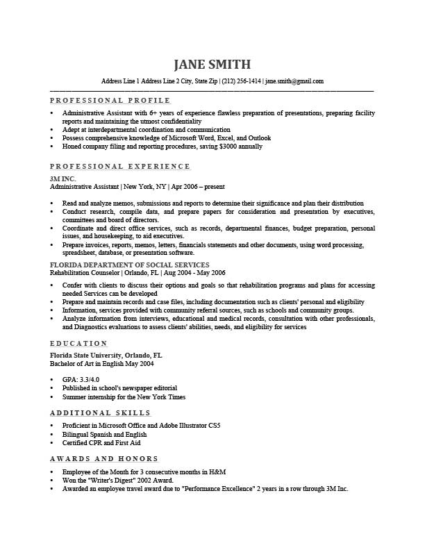 profile of a resume