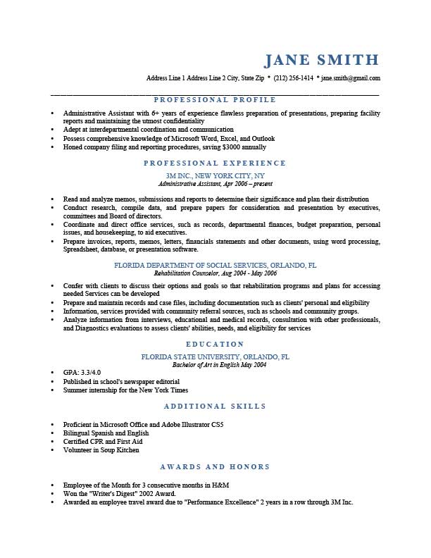 murray blue - Profile Examples For Resumes